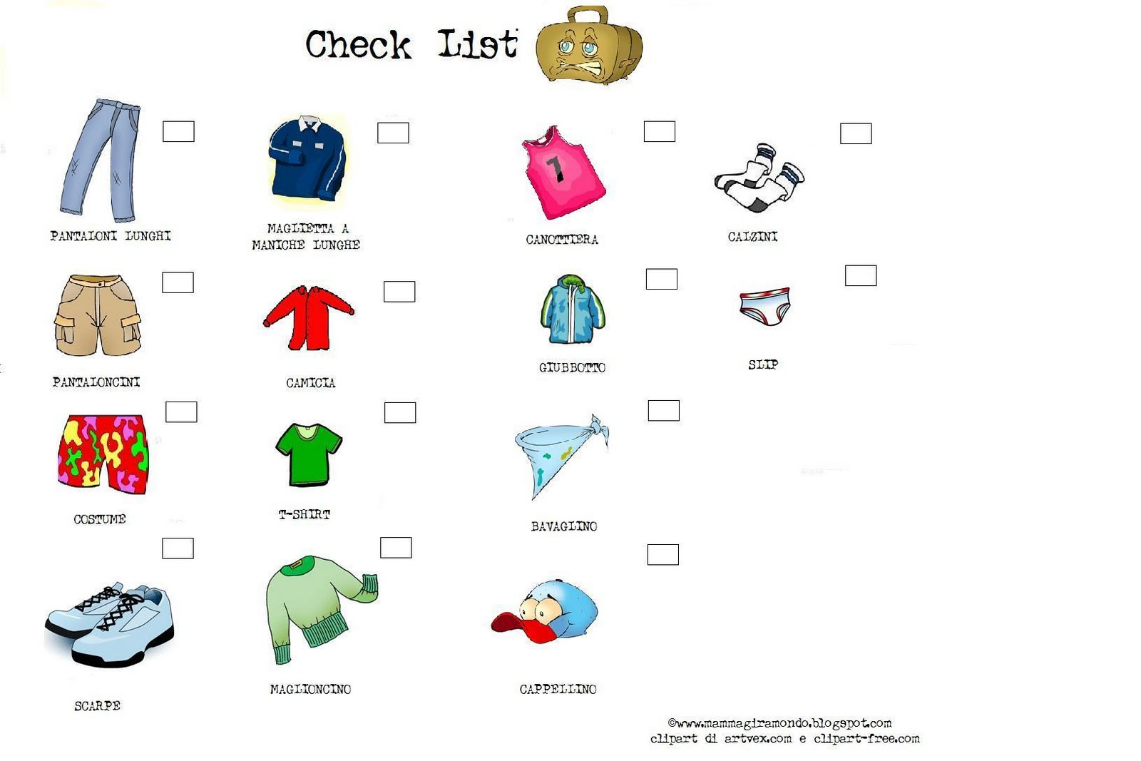 CHECK LIST maschietti